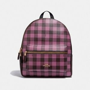 NWT Coach charlie backpack with gingham print